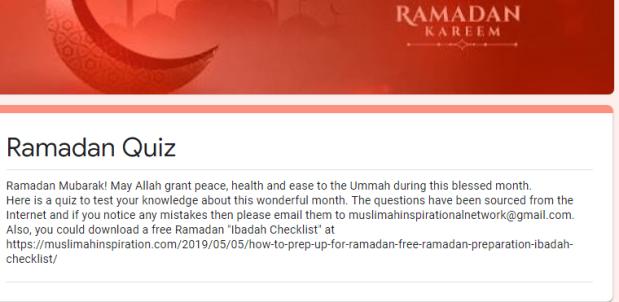 Islamic Ramadan Quiz